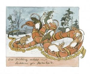 Illustration mit Farbratten und Schlange