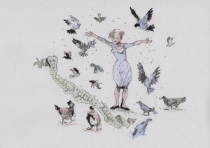 Frau füttert Tauben, Spatzen und Hühner