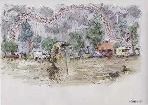 Illustration, Hecht steht im Regen auf einem Campingplatz. Tusche und Buntstift.