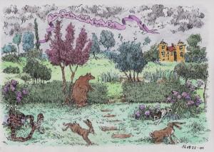 Ein Garten. Darin der Urorobos beim Kartenspiel, zwei Hasen, ein satter Bär und...nun...ein Reh...