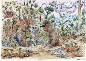 Tuschezeichnung mit Buntstift, Jagdszene mit Bären