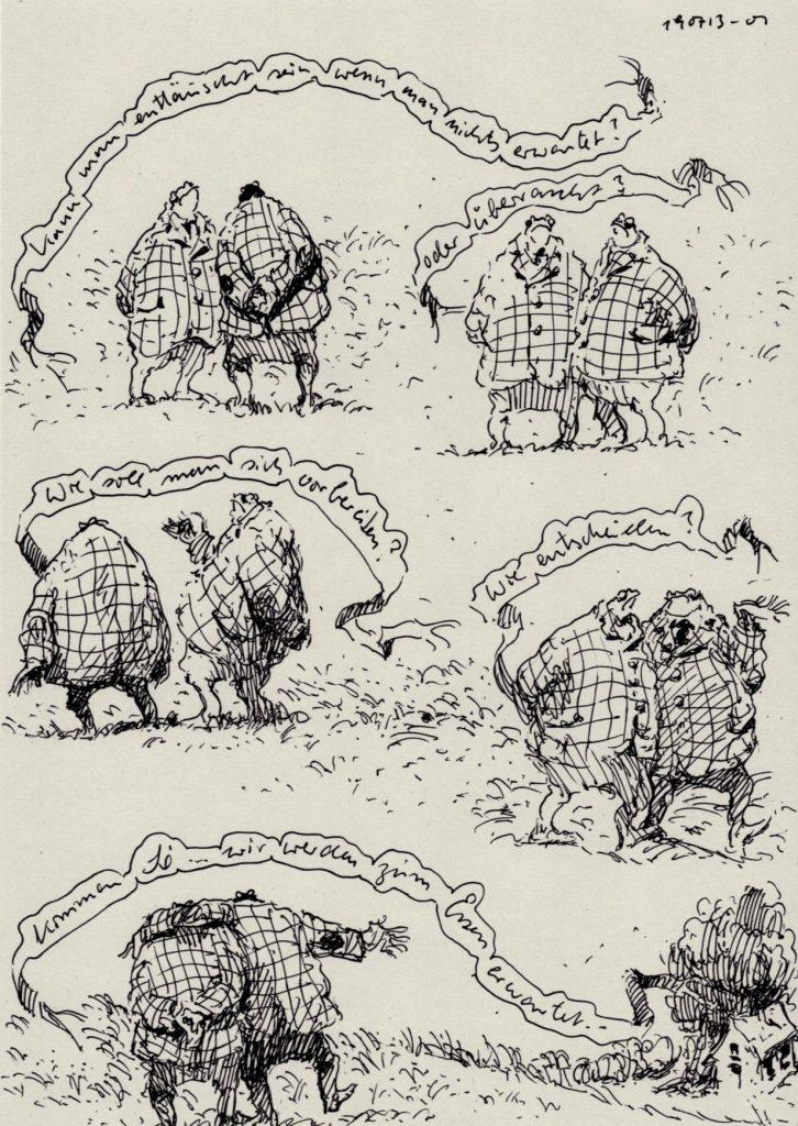 Satirische Zeichnung , Tusche auf Papier