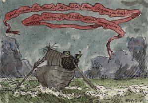 Satirische Zeichnung einer Bootsfahrt