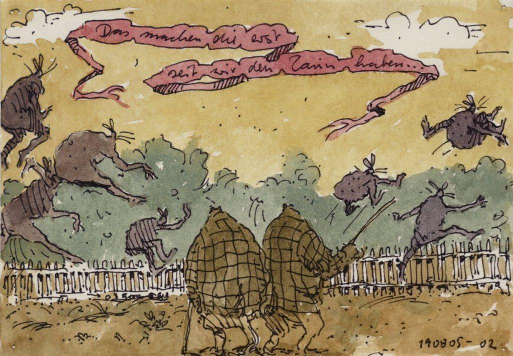 Satirische Zeichnung,Tusche und Aquarell