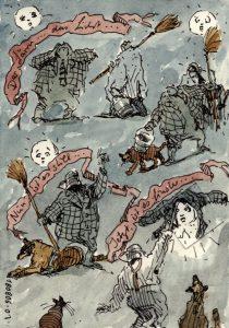 Satirische Zeichnung, Tusche und Aquarell